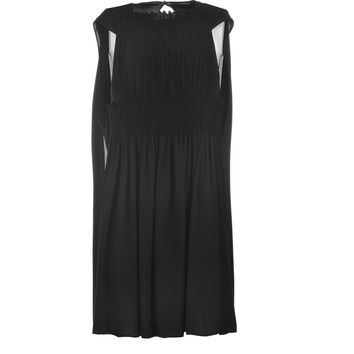 VALENTINO Georgette Silk Pleated Chiffon Dress with Cape in Black