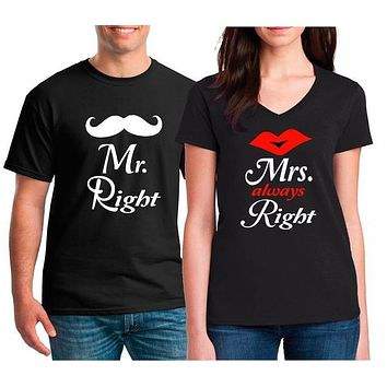 Mr. Right Mrs. Always Right. Funny Matching T-shirts for Couples