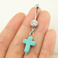 coss belly ring,belly button jewelry,turquoise belly button rings,navel ring,piercing belly ring, body piercing bellyring,friendship gift