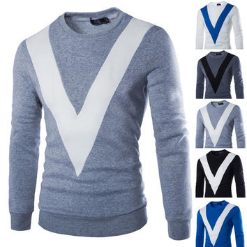 """Mens """"V"""" Graphic Pullover Sweater"""