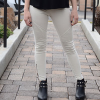 Go For It Moto Pants- Light Khaki