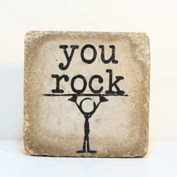 Bookend. Garden decor. Rustic tumbled (concrete) stone paver.  You rock.