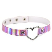 Holographic Leather Heart Choker