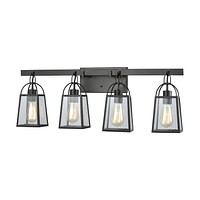 Barnside 4-Light Vanity Lamp in Oil Rubbed Bronze with Clear Glass Panels