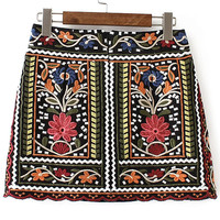 Multicolor Tribal Embroidery Vintage Skirt -SheIn(Sheinside)