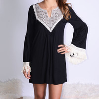 All The Bells & Whistles Black Embroidered Detail Dress