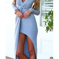 Light Grey Deep Plunging V-Neck Ruched Gathered Tie Waist Long Sleeve Asymmetric Wrap Slit Full Length Maxi Dress