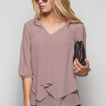 Mocha 3/4 Sleeve Blouse with Open Arms & Ruffle