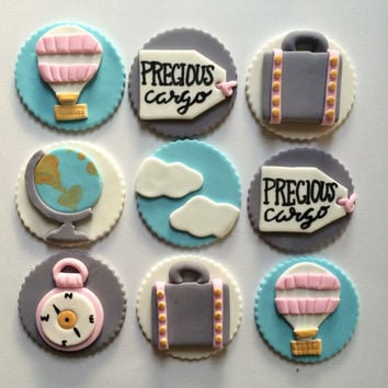 Travel Theme Baby Shower Cupcake Toppers | Fondant