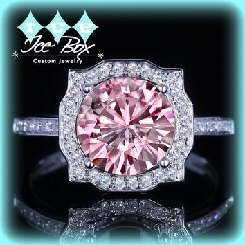 Pink Moissanite Engagement Ring 8mm, 2ct Round Pink Moissanite in a 14k White Gold Diamond Halo Setting