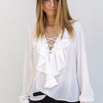 Ahead Of The Game White Blouse