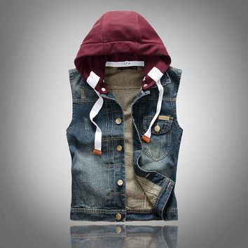 Men's Comfortable Stylish Cool Hooded Denim Vest Jacket Blue