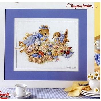 Top Quality Beautiful Lovely Counted Cross Stitch Kit Life Mouse And Bird Picnic lanarte 33843