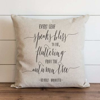 Fall Pillow Cover // Every Leaf Speaks Quote