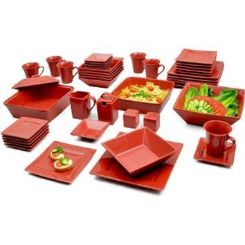 GMT Red 45-Piece Square Banquet Porcelain Dinnerware Set, Service for 6, Red