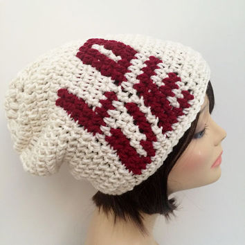 FREE SHIPPING - Crochet Slouch Beanie Hat - Love, White & Red
