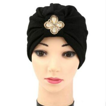 2018 Hot Bandanas Women's Hair Wrap Chemo Pleated Pre Tied Head Cover Up Bonnet Turban with metallic accessory