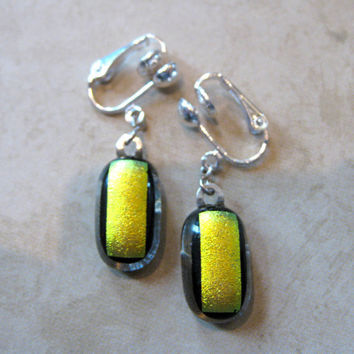 Dichroic Clip On Earrings, Dangle Clip On Earrings - Eleanor -  by mysassyglass
