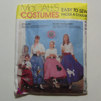 McCall's Costumes 7253 Sewing Pattern At the Hop Poodle Skirts Petticoat Size Misses X small, Small, Medium, Large