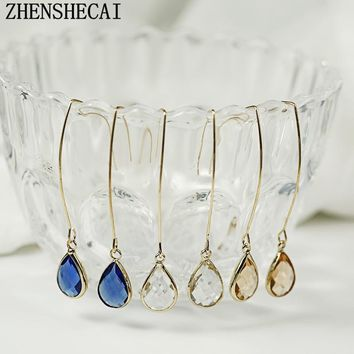 Fashion Crystal Water Drop Earrings for Women Wedding Punk Long Tassel Dangle Earring Bar Statement Jewelry 2018 new hot