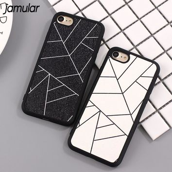 JAMULAR Simple Black White Grid Phone Case For iPhone 7 8 6 Plus 5s SE Silicone Case Back Cover for iPhone 6 6s 8 Plus Fundas