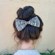 Black and White Striped Hair Bow