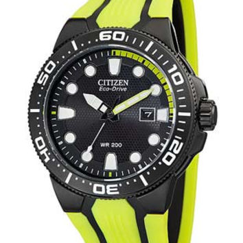 Citizen Eco-Drive Scuba Fin Mens Dive Watch - Black and Lime Green - PU Strap
