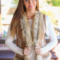 Warm Wishes Sueded and Fur Vest