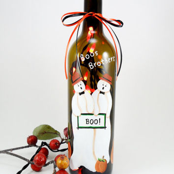 Boos Brothers Halloween Pumpkin Lighted Wine Bottle Hand Painted 750 ml