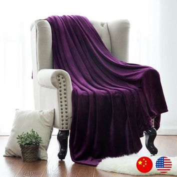 Naturelife Purple Flannel Blanket Coral Plaid For sofa