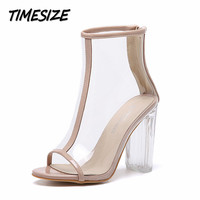 Women's Transparent Thick Clear Heels Peep Toe High Heel Shoes