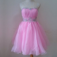 Adorable Ball Gown Scoop Neckline Mini Prom Dress