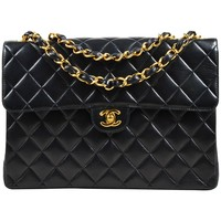 "Chanel Black & Gold Tone Lambskin Quilted 'CC' Turnlock ""Jumbo Flap"" Bag"