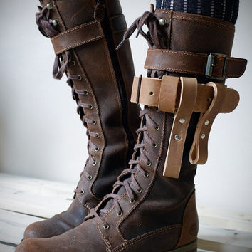 Unisex Leather Boot Garter - Natural - steampunk - burning man - festivals - apocalypse - mad max, Please read Description for size