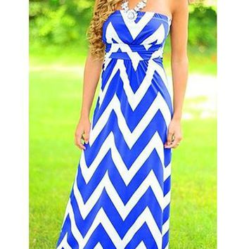 Strapless Chevron Stripe Maxi Dress - Azure White / Sleeveless / Empire Waist