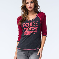 Fox Scripted Womens Raglan Tee Raspberry  In Sizes