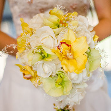 Real Touch Orchid Wedding Bouquet Cascading Exclusive Package White Roses Yellow Orchids Bridal Bouquet and Grooms Boutonniere