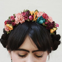 Frida Kahlo  Flower Crown - Small Frida Headpiece, Sugar Skull Crown, Day of the Dead, Frida Headband, Frida Hair, Frida Flower Crown,
