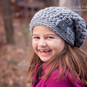 Crochet PATTERNS - Slouchy Hat Crochet Patterns - Crochet Slouchy Hat Patterns - Baby Crochet Patterns -  Kids Patterns - 4 Sizes - PDF 207