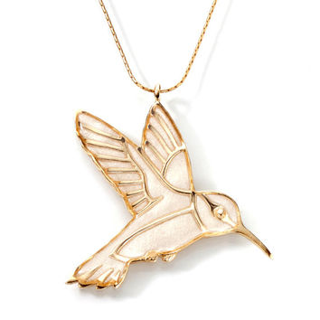 Hummingbird Pendant - Handmade Gold Necklace - Polymer Clay Jewelry - FREE SHIPPING