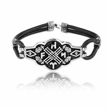 Monogram sterling silver bracelet with leather wristband