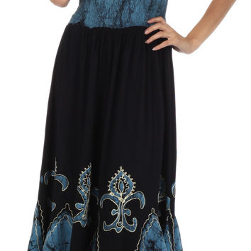 Sakkas Batik Fleur De Lis Embroidered Peasant Dress