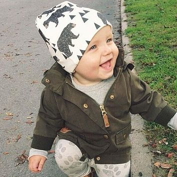 2016 Autumn Winter animal print Cotton Baby Hat Girl Boy beanie Kids Caps Lovely Knit Crochet bonnet Accessories S3
