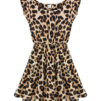 Sleeveless Leopard Print High Waist A-Line Mini Skater Dress