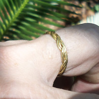 10K Gold Band, Wedding Style Band, Braided Gold Vintage Ring, 70's Gold Braid Ring, Size  8.5 Unisex