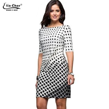 Geometric Dress Tunic  Women's Clothing Plus Size Spring OL Dresses For Work Fashion Black White Dress