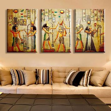 2017 Gift Decor Triple Abstract No frame picture Egyptian mural Room Escape Modern decorative painting a large art wall art prin