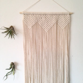 "Macrame wall hanging, cotton on a wood dowel. Chunky geometric triangle shapes. Long wall hanging. Large macrame. ""Song Sparrow: Overture"""