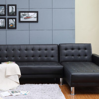 Marsden Tufted Bi-Cast Leather 2-Pieces Sectional Sofa Bed  in Black