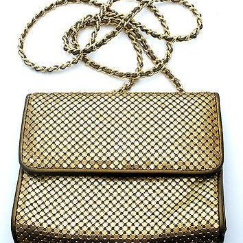 Whiting & Davis Purse Fold Over Handbag Gold Mesh